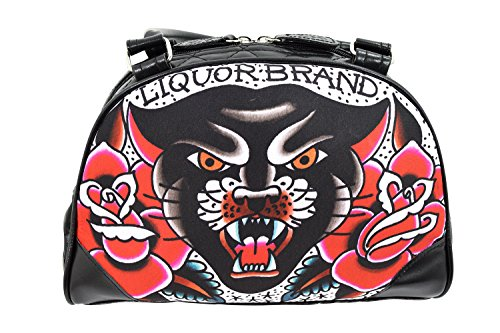 Liquorbrand Traditional American Tattoo Black Panther & Roses Small Bowler Bag (Bag Small Bowler)