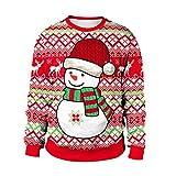 Women Cute Christmas Sweatshirts BCDshop Snowman Elk Print Long Sleeve Tops Blouse(Red,L)