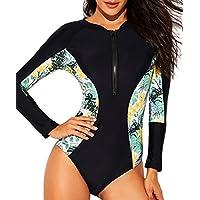 funnygirl para mujer Rashguard manga larga cierre protección UV de impresión Surf traje de baño bañadores trajes de baño