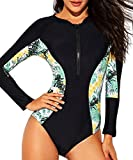 Funnygirl Womens Rashguard Long Sleeve Zip UV Protection Print Surfing Swimsuit Swimwear Bathing Suits, Black&floral Side, L(US:10-12)