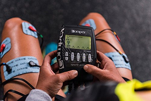 Compex Sport Elite Matte Black Muscle Stimulator Bundle Kit: Muscle Stim, 12 Snap Electrodes, 9 Programs, Lead Wires, Battery, Case / 4 strength, 2 warm-up, 3 recovery