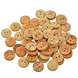 Souarts Mixed Natural Color Round Shape 2 Holes Wooden Buttons Flower Life Tree Printed Pack of 100pcs