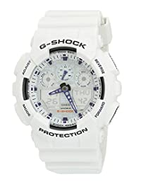 Casio Men's GA100A-7 G-Shock X-Large Analog-Digital White and Blue Sports Watch