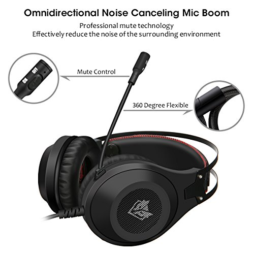 Computer Headsets, ELEGIANT Over-Ear Gaming Headphones with Microphone, Bass Stereo Surround Sound Volume Control, Compatible with PS4 Pro/PS4 Xbox One Nintendo Switch PC Mobilephone Laptop Mac-Black by ELEGIANT (Image #4)