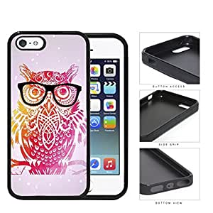 Cute Hipster Colorful Owl with Geometric Triangle Background and Eyeglasses iPhone 5 5s Rubber Silicone TPU Cell Phone Case