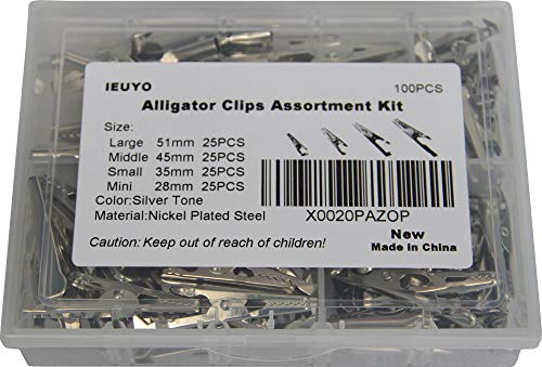 IEUYO Metal Alligator Clips Assortment Kit for Battery Test Lead Steel Crocodile Clamps, Place Card Holder,Silver Tone Nickel Plated 100PCS/4 Sizes 51/45/35/28mm(Large/Middle/Small/Mini)