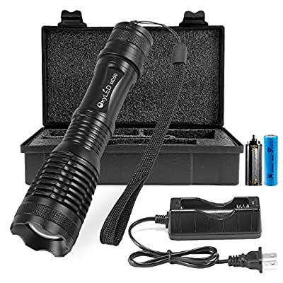 LED Tactical Flashlight, OxyLED 900 Lumens CREE T6 LED Flashlights, Rechargeable 18650 Battery Included, Portable Handheld Flash light, IPX-6 Water-Resistant, Zoomable, 5 Light Modes for Home Emergency Outdoor Hunting Camping and Hiking