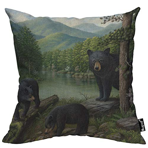 Mugod Black Bears Throw Pillow Case Wild Animal Bear River Forest Jungle Mountain Green Tree Decorative Cotton Linen Square Cushion Covers Standard Pillowcase Couch Sofa Bed Men/Women 18x18 Inch (Throws Bear Black)
