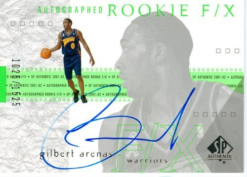 2002 SP Authentic Gilbert Arenas Autograph Rookie Card