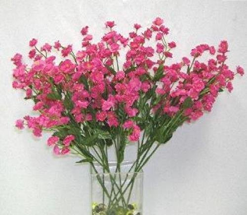 Artificial Flowers FUCHSIA Silk Mini Baby's Breath Wedding Filler Flowers Centerpiece Party Fake Craft Floral Decor 18 inches Tall
