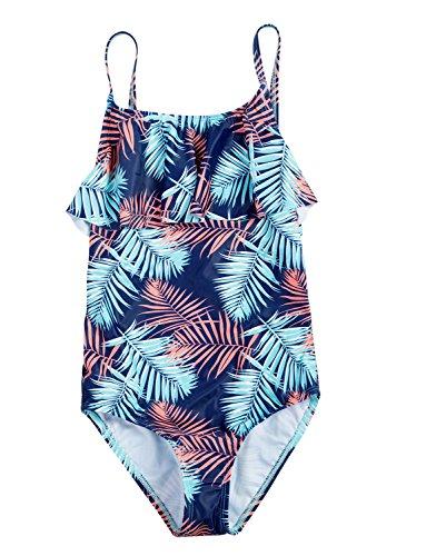 ALove Big Girls Swimwear 1 Piece Ruffle One Piece Bathing Suit Swimsuit (Swimwear One Piece Bathing Suits)