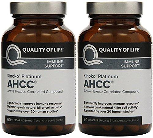 Premium Kinoko Platinum AHCC Supplement - 60 Veggie Capsules (2 Pack)