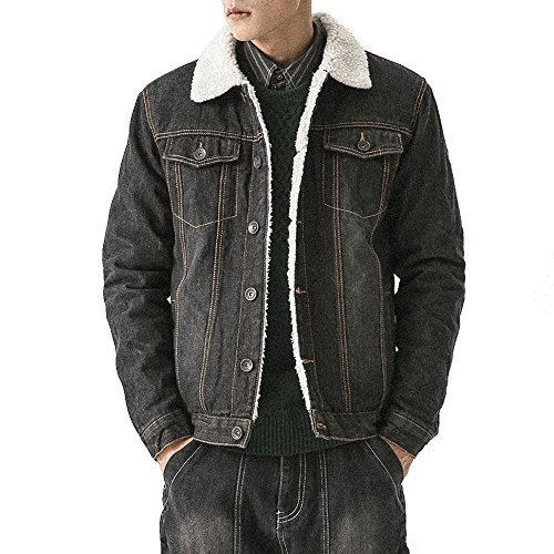 (LINGMIN Men's Winter Fleece Lined Denim Jacket Fur Collar Quilted Jean Coats)