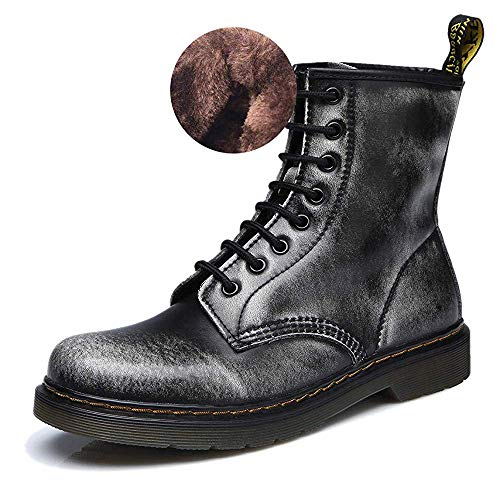 Toe Martens Boots Lase Ankle Boots Black Modemoven Round Booties Lined Fashion Combat Grey Fur Ladies Women's up Leather 7qwtEO1