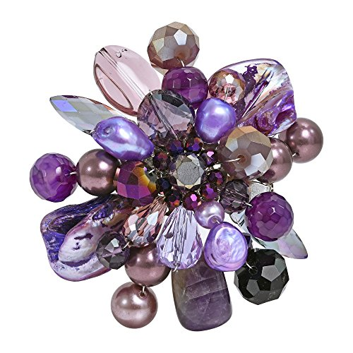 AeraVida Purple Blossoming Lotus Simulated Amethyst Floral Pin or Brooch
