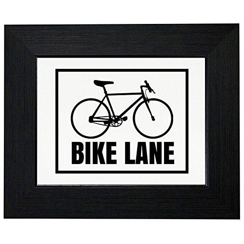 Royal Prints Bike Lane - Bicycle Sign - Sporty Framed Print Poster Wall or Desk Mount Options