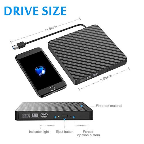 Tecnugiz External CD/DVD Drive for Laptop & MacBook, CD / DVD Player & Burner with USB 3.0 Plug, Fast Data   Transfer & Writing Speed 8 X DVD-R by Tecnugiz (Image #6)