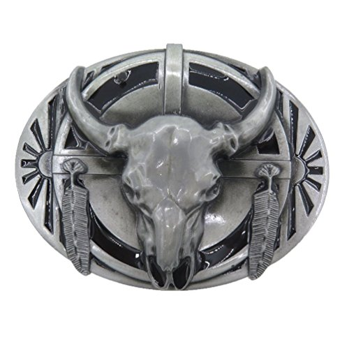 [Retro Buckle Rage Mens Native American Ceremonial Buffalo Skull Belt Buckle Silver Tone] (Buffalo Buckle)