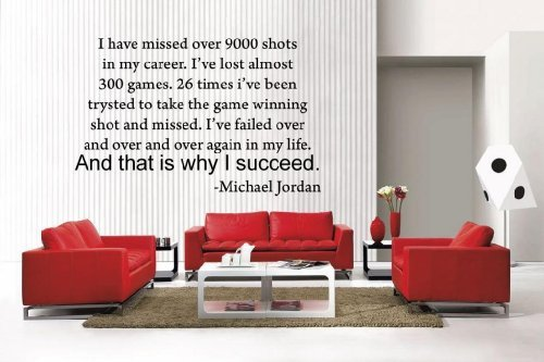 Newclew Michael Jordan i have missed quote basketball removable Vinyl Wall Decal Home Décor Large