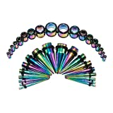 Stainless Ear Stretching Kit Plugs & Tapers Set 36pc Gauges 14g-00g Rainbow