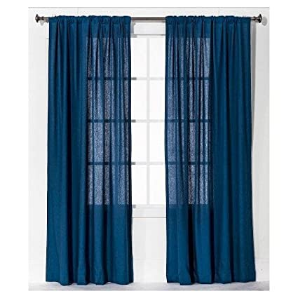 New Curtain Panel Linen-Look - Blue 54x84 Threshold