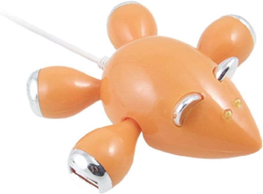 NA High Speed Orange Mouse PC Laptop Hub 4-Port USB with LED Light