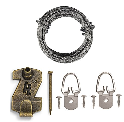 HangZ 12030 1-Hole D-Ring Wire Picture Hanging Kit, (Anchor Wire Brass Hooks)
