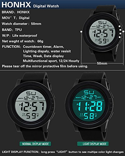 ... 5 ATM Waterproof Outdoor LED Digital Watch Military Rubber Wrist Watch Strap with Alarm Analog Quartz Watch with Date Month Relojes De Hombre: Watches