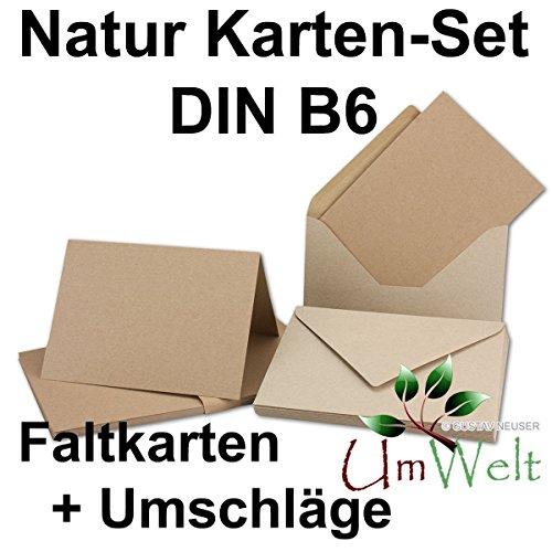 25x Kartenset DIN B6 Faltkarten mit Umschläge // Naturpapier // Recycling - Naturfarbe braun