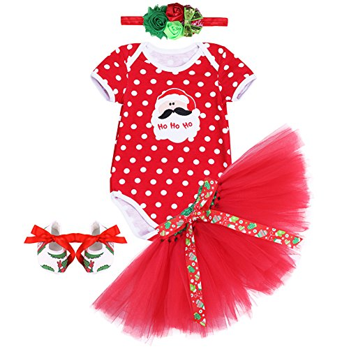 Baby Infant Girls My 1st Christmas Romper Tutu Skirt Set Santa Claus Deer Bodysuit Party Outfits Headband Shoes Clothing Set
