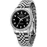 BUREI Mens Formal Mechanical Watches with Elegant Face Datejust Sapphire Crystal Metal Band