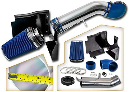 Cold Air Intake System with Heat Shield Kit Filter Combo BLUE Compatible For 02-06 Cadillac Escalade 5.3L//6.0L