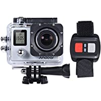 Andoer 4K 30fps/1080P 60fps Full HD 16MP Action Camera Waterproof 30m WiFi 2.0LCD Sports DV Cam Camcorder 170 Degree 4X Zoom Dual Screen Car DVR w/ Remote Control (Sliver)