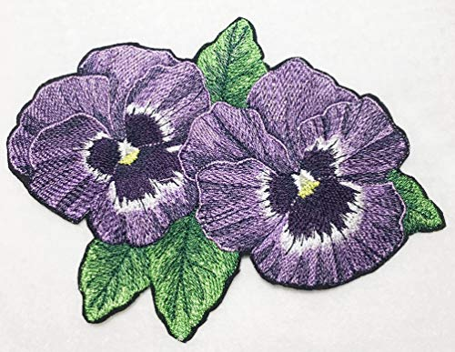 (Realistic Purple Pansy Embroidered Iron on Patch - Purples & Greens (Small 6.6