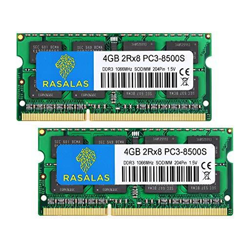 Rasalas 8 GB Kit (2 x 4 GB) PC3-8500S 1067 MHz 1066 MHz DDR3 8500 PC3-8500 SODIMM RAM-upgrade voor eind 2008, vroeg/mid…