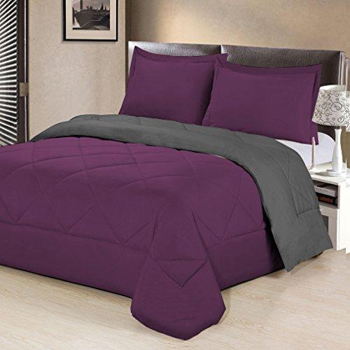 Aurora Bedding (Aurora Bedding  3 Piece Reversible Luxurious Brushed Microfiber Goose Down Alternative Comforter Set with pillow Shams, Full/Queen,)