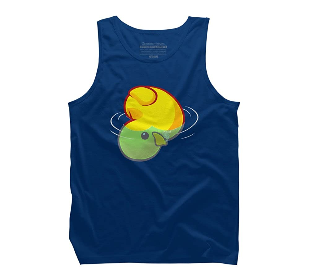 Design By Humans Bloop sad Rubber Duck Bath Toy Mens Graphic Tank Top
