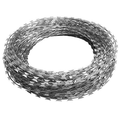 vidaXL 12'' Razor Wire/Helical Barbed Wire Galvanized Steel 1 Coil 197 Feet Coverage by vidaXL (Image #2)