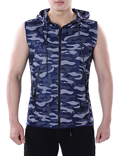 HEQU Men's Camo Hoodie Vest Sleeveless Casual Fitness Zip-up Active Tank Tops...