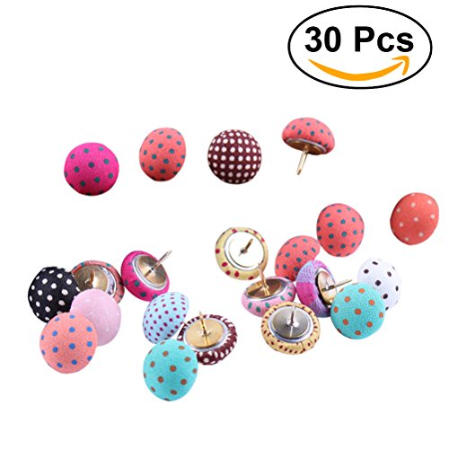 NUOLUX 30pcs Cute Push Pins Polka Dots Mushroom Shape Pushpin Decorative DIY Tool for School Home and Office Use (Random Color) (Cute Bulletin Boards)