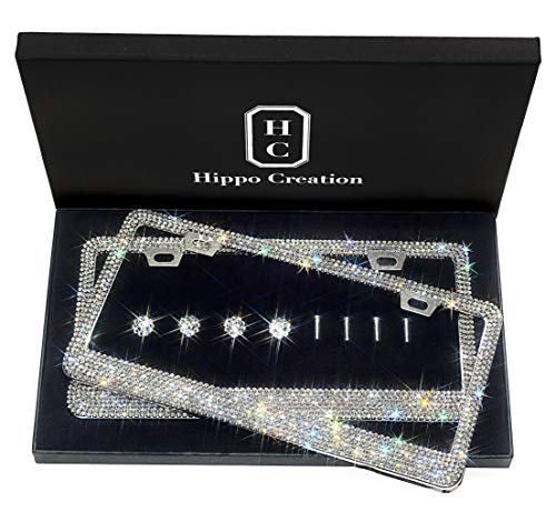 2 Pack HC Prong Setting Luxury Handcrafted Bling License Plate Frame with GiftBox | Over 1000 pcs Finest 14 Facets Clear White Rhinestone Crystals | Perfect Car Accessories for All Standard Plate Size