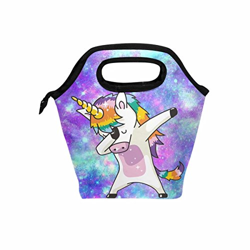Unicorn Kids Lunch Box Insulated Lunch Bag Large Freezable Lunch Boxes Cooler Meal Prep Lunch Tote Universe Galaxy with Shoulder Strap for Boys Girls ... (Dab Tote)