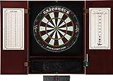 Viper Metropolitan Solid Wood Cabinet & Sisal/Bristle Dartboard Ready-to-Play Bundle: Elite Set (Razorback Dartboard, Darts and Laser Throw Line), Mahogany Finish