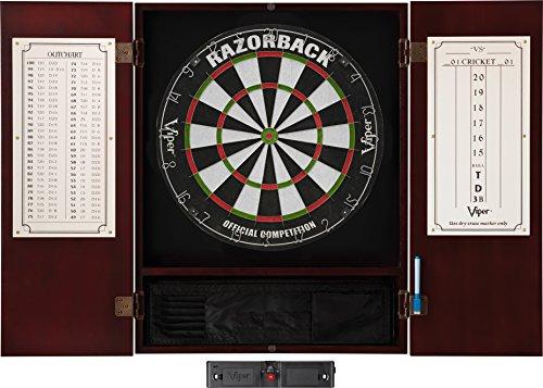 (Viper Metropolitan Solid Wood Cabinet & Sisal/Bristle Dartboard Ready-to-Play Bundle: Elite Set (Razorback Dartboard, Darts and Laser Throw Line), Mahogany Finish)