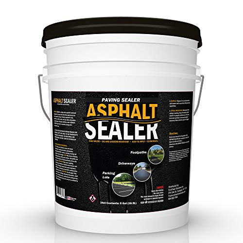 Premium Driveway Sealer & Asphalt Sealer | Sealer for Driveways Blacktop & Asphalt | Commercial Grade - 5 Gallon