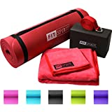"""Fit Spirit® Yoga Starter Set Kit - Includes 0.5"""" Inch NBR Exercise Mat and Optional Yoga Block, Yoga Towels & Yoga Strap - Choose Your Color & Accessories"""