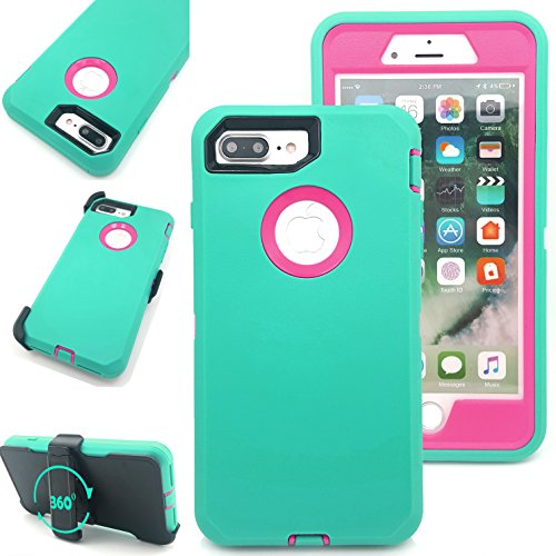iPhone 7 Plus Case,Vodico Heavy Duty Rugged Multi-Layer Hybrid Protective Shockproof Defender Armor Case Cover with Belt Clip and Built-in Screen Protector for iPhone 7 Plus (Teal Hot Pink)