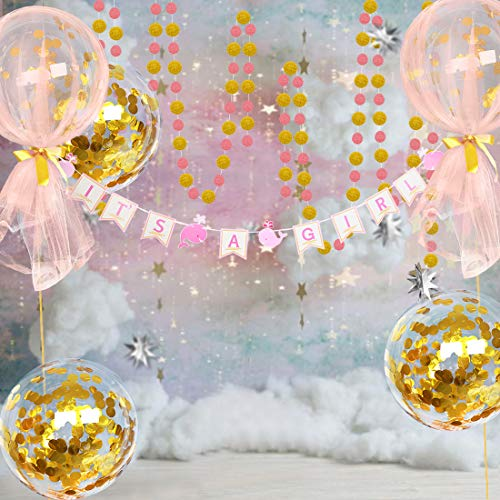 Baby Shower Party Decoration Kit for Girl, Bobo Balloon Kit for Party Supply, Whales It's A Gir Banner, Gold Circle Dots Garlands Bunting, 18inch Gold Confetti Clear Balloons with Tulle -