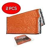 2 Pack - Bramble Emergency Bivvy Bag - Survival Sleeping Bag - Bushcraft - thermal Insulation Bright Orange Exterior, Reflective Lining Interior
