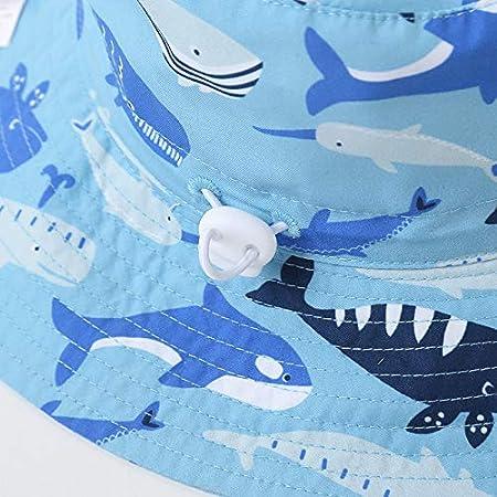 Baby sun hats kids 2.75in big fold-up brim bucket hats upf50+UV Vivobiniya 20.4in 2-4Y, flamingos 52cm